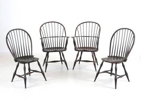 four vintage fanback windsor chairs