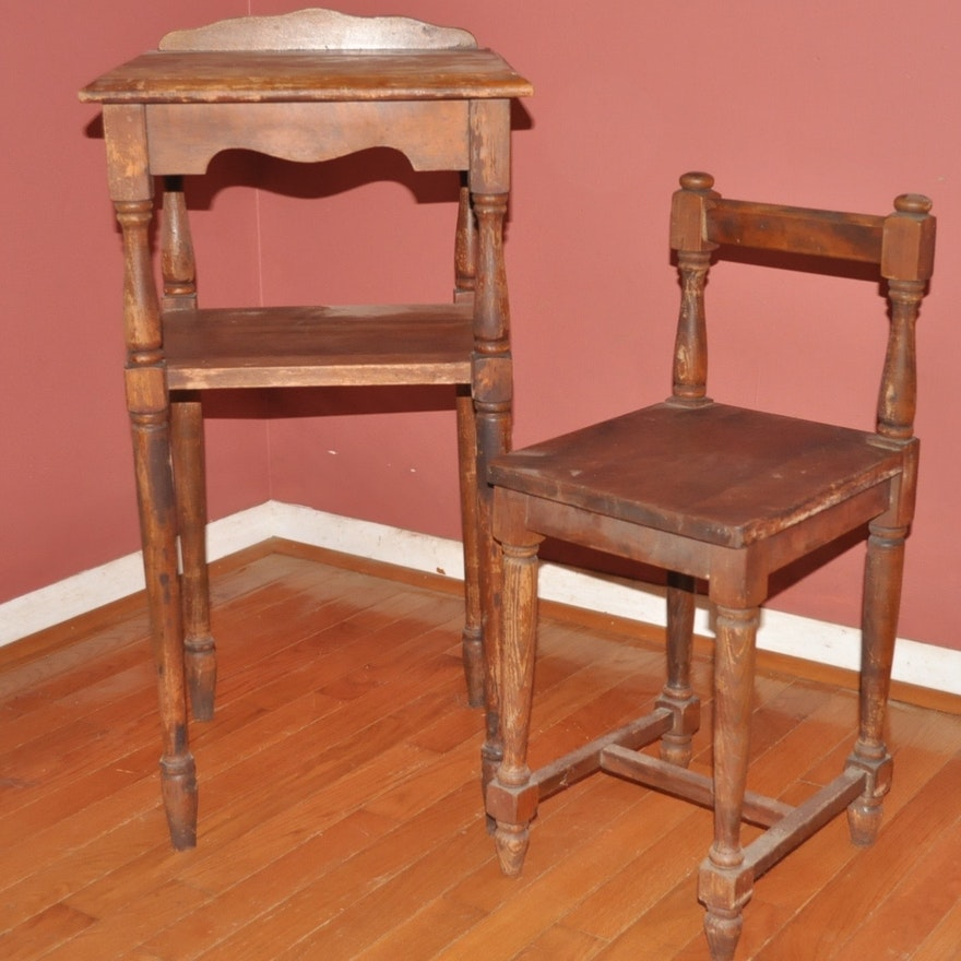 Vintage Walnut Telephone Table With Chair ... - Vintage Walnut Telephone Table With Chair : EBTH