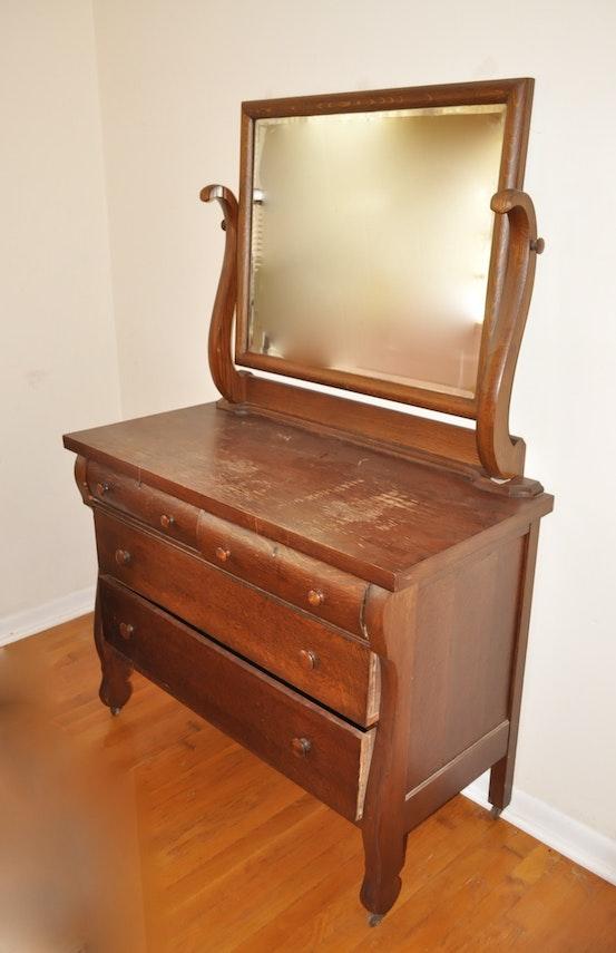 Victorian Quartersawn Oak Dresser With Mirror Ebth