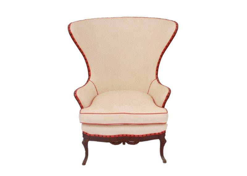 White Wing Chair With Red Vinyl Trim Ebth