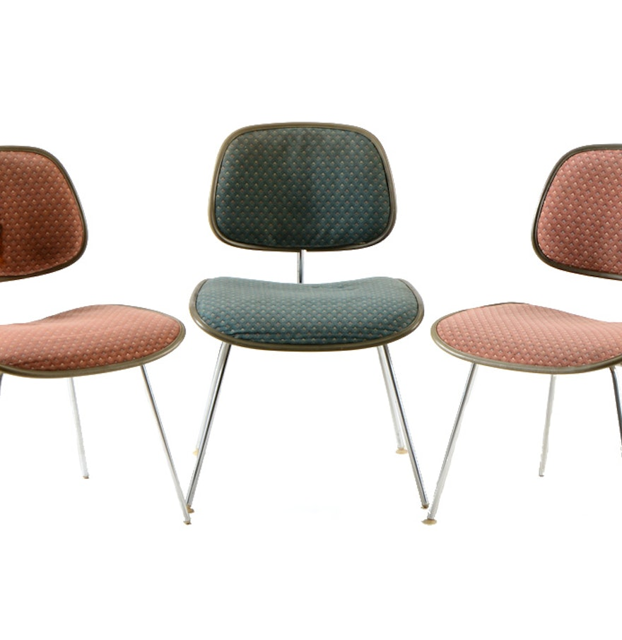 charles eames upholstered dcm for herman miller side chairs ebth