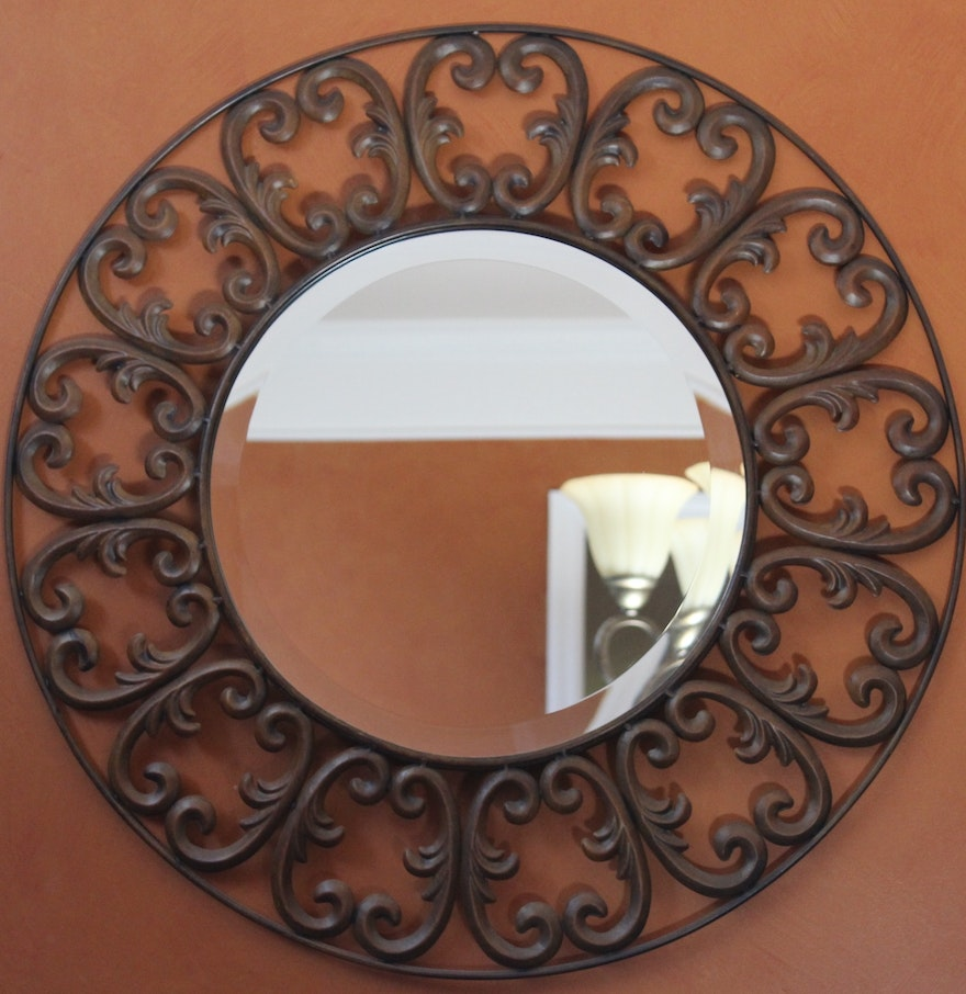 Decorative round wall mirror ebth Round decorative wall mirrors