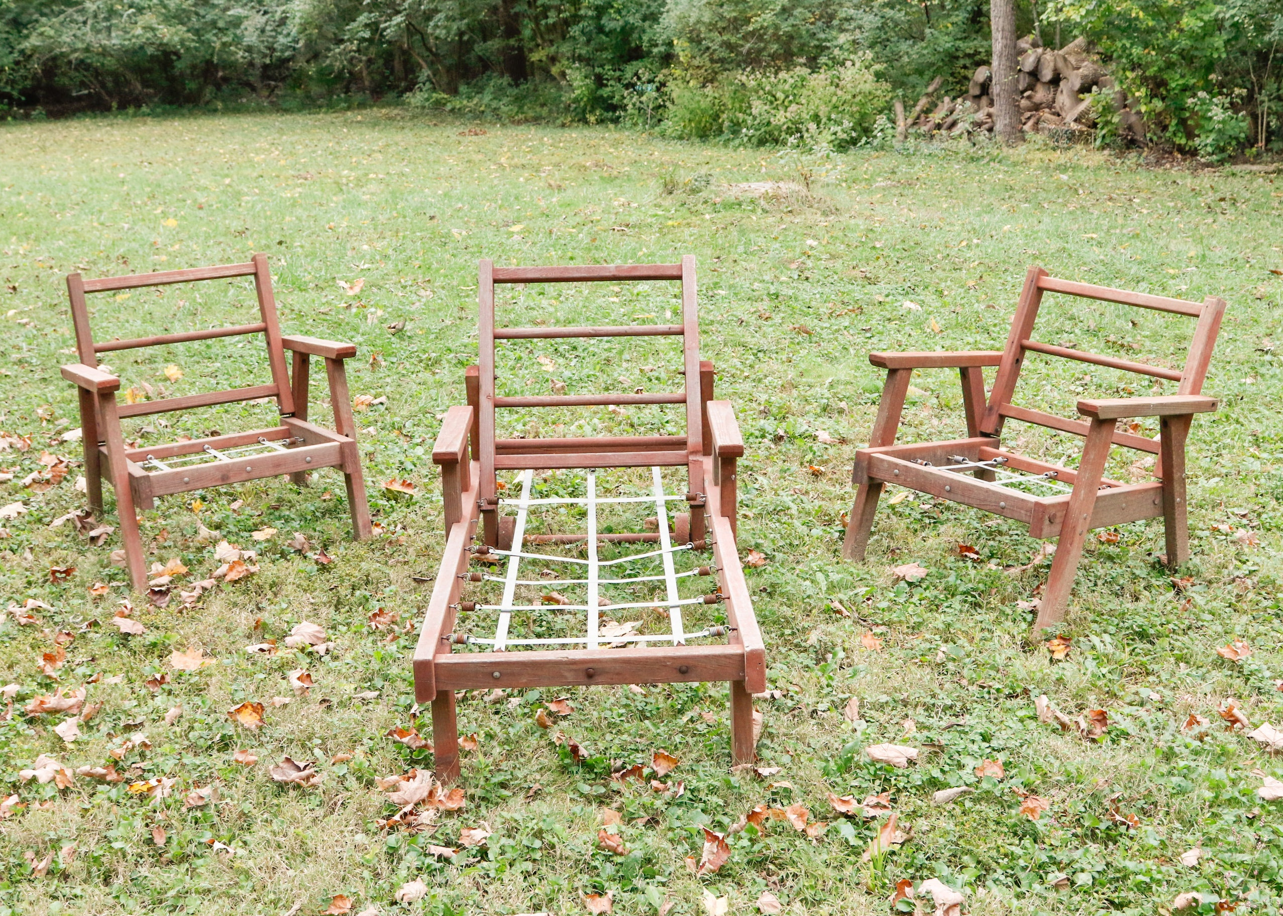 three piece vintage redwood lawn furniture ebth rh ebth com redwood patio furniture parts redwood patio furniture home depot