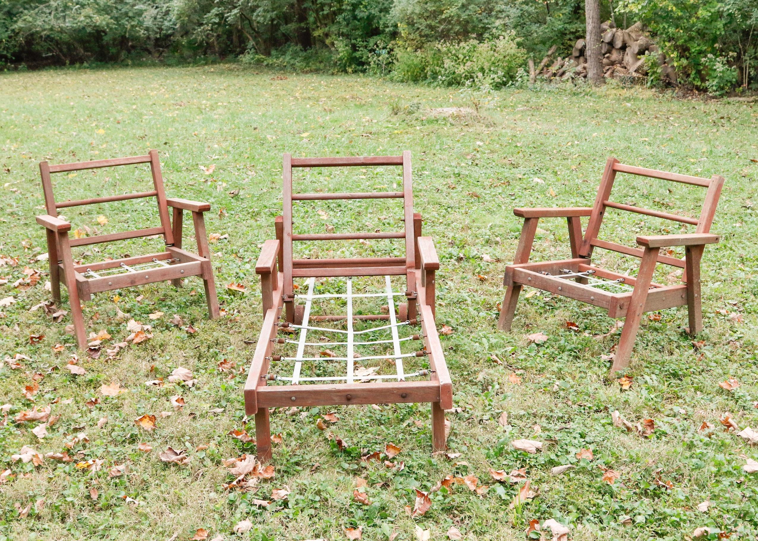 Three Piece Vintage Redwood Lawn Furniture ...