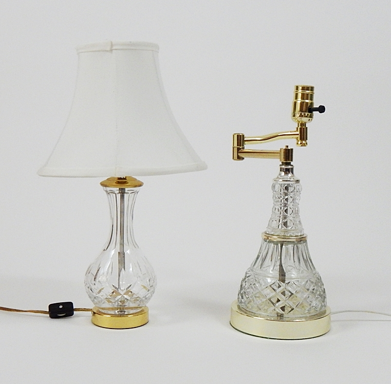 Vintage Leviton Crystal Boudoir Lamp and Cut Glass Lamp : EBTH