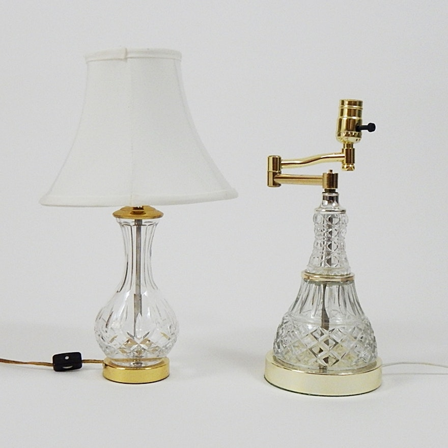 Vintage Leviton Crystal Boudoir Lamp and Cut Glass Lamp : EBTH