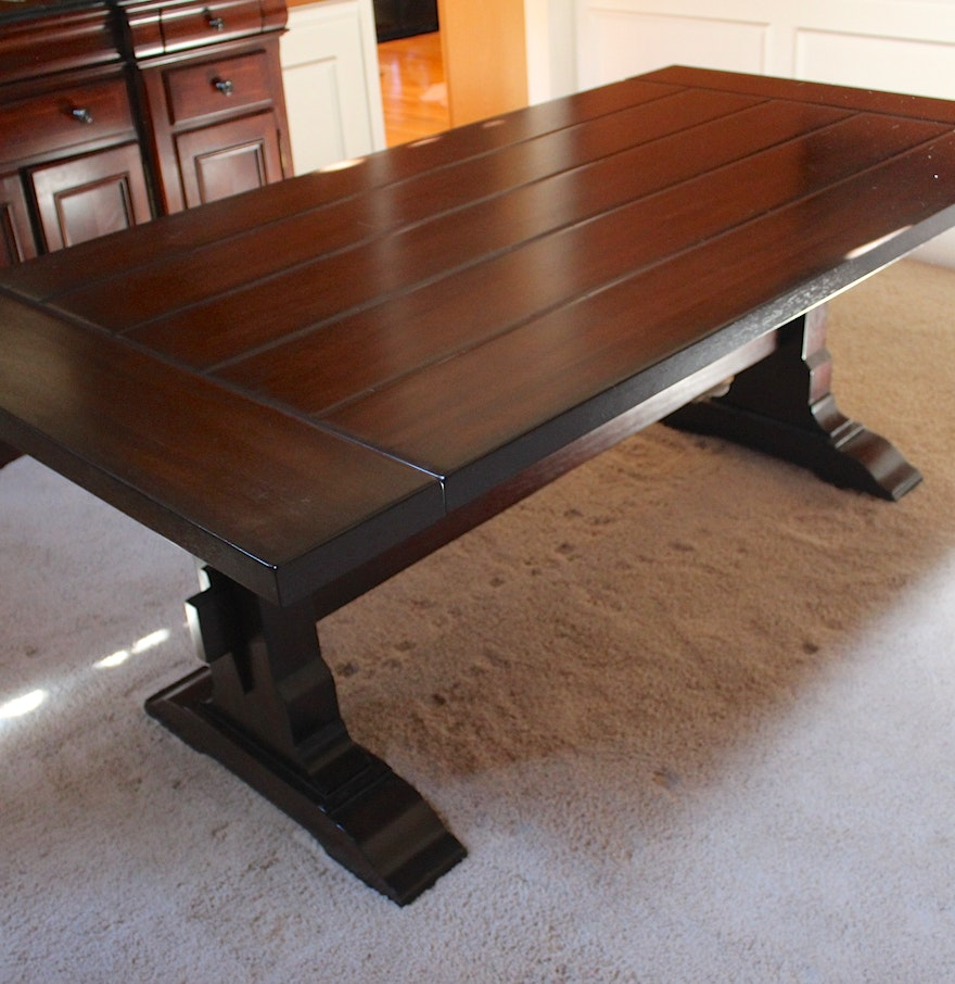 Illinois Modern Two Tone Large Round Dining Table With 8: Pottery Barn Mahogany Trestle Table : EBTH