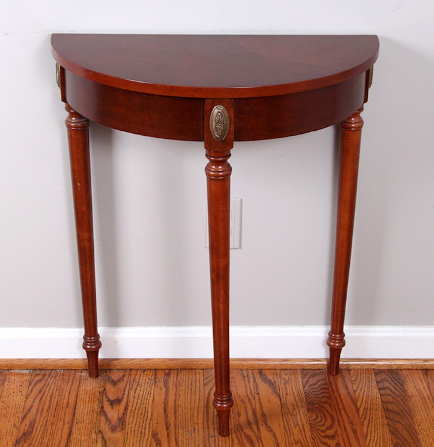 Cherry half moon foyer table ebth - Half table entryway ...