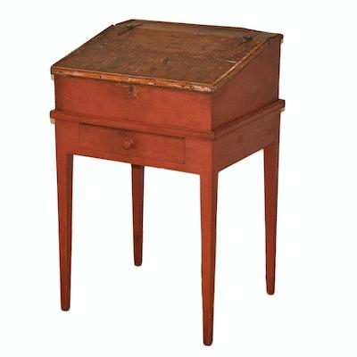 Late 19th Century Slant Top Schoolmaster's Desk - Online Furniture Auctions Vintage Furniture Auction Antique