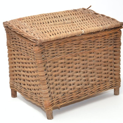 Vintage Wicker Storage Basket - Online Furniture Auctions Vintage Furniture Auction Antique