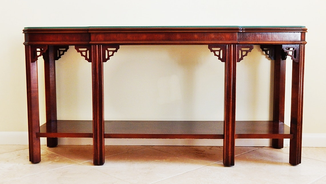 Vintage Lane Fretwork Asian Style Sofa Table ...