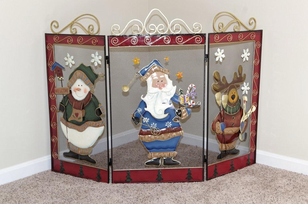 christmas fireplace screen with metal applique figures ebth