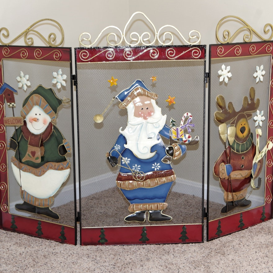 Christmas Fireplace Screen with Metal Applique Figures from EBTH.com