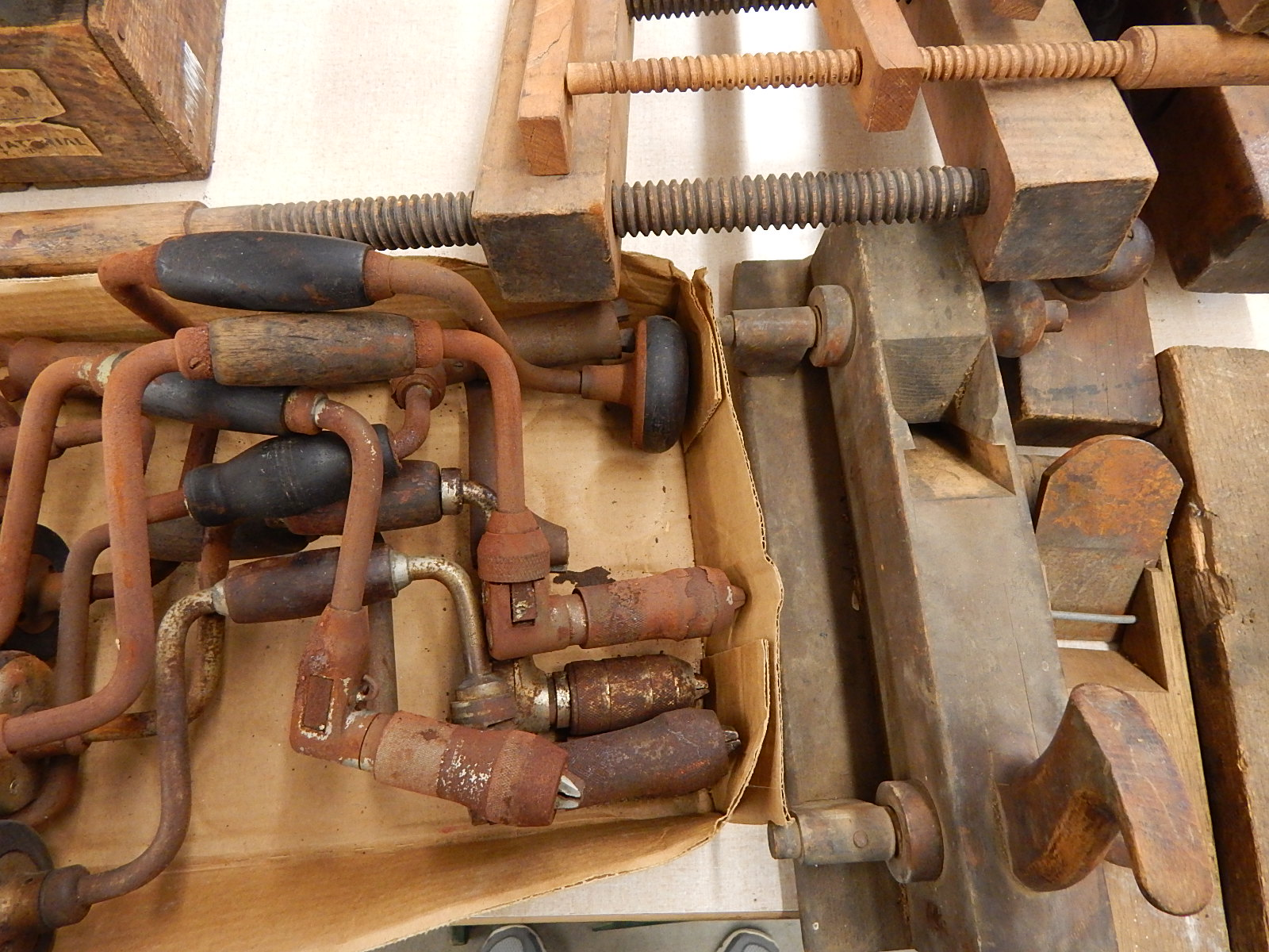 vintage tools for sale. box lot of vintage tools - hand drills/wood presses for sale