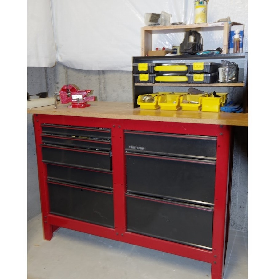 Craftsman tool cabinet workbench with vise and more ebth for Craftsman workshop