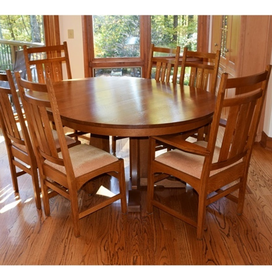 Stickley Mission Collection Harvey Ellis Table and Six Chairs : EBTH