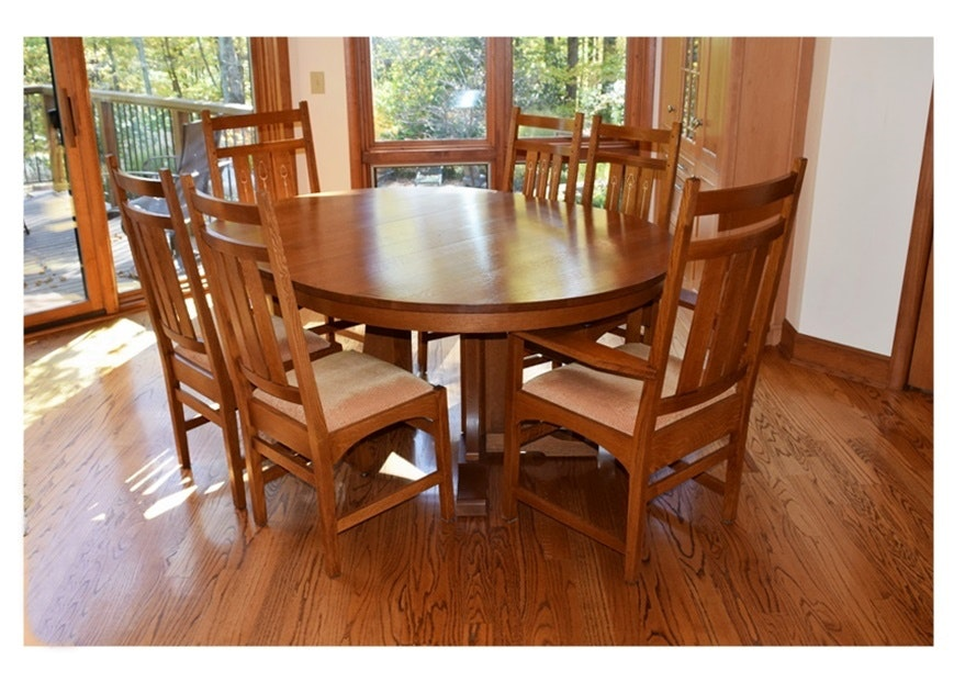 Stickley Mission Collection Harvey Ellis Table And Six Chairs ...