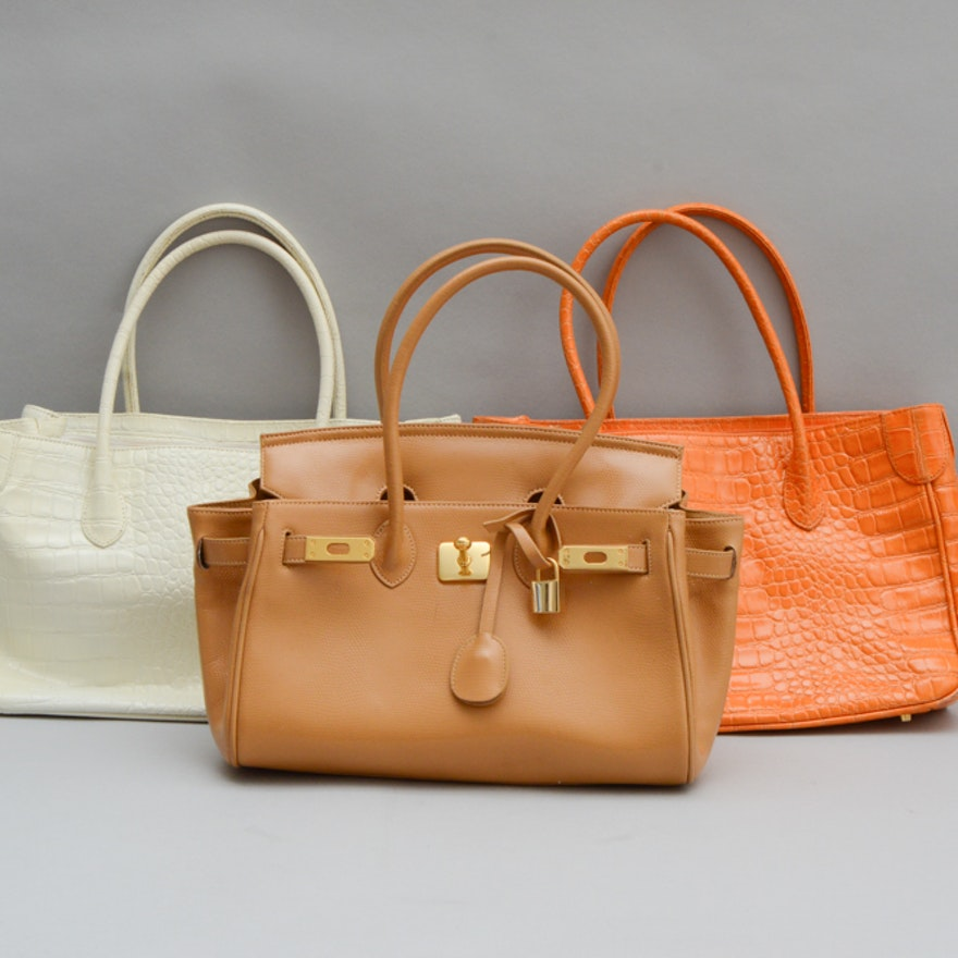 Trio Of Muska Milano Genuine Leather Bags