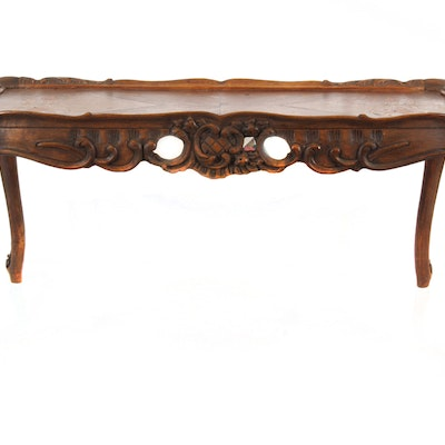 Circa 1920 Italian Rococo Style Parquetry Top Table - Online Furniture Auctions Vintage Furniture Auction Antique