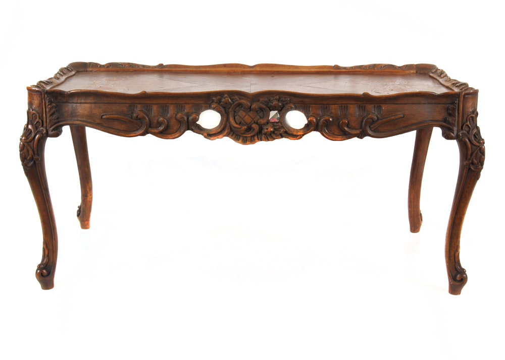 Circa 1920 Italian Rococo Style Parquetry Top Table