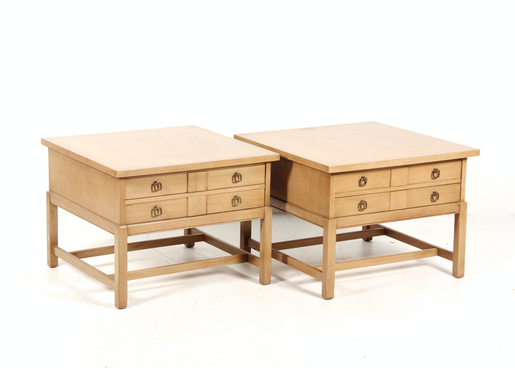 Pair Of Mid Century End Blonde Wood Tables Ebth