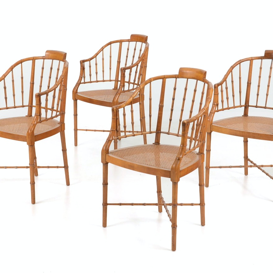 Set of Four Baker Furniture Faux Bamboo Chairs