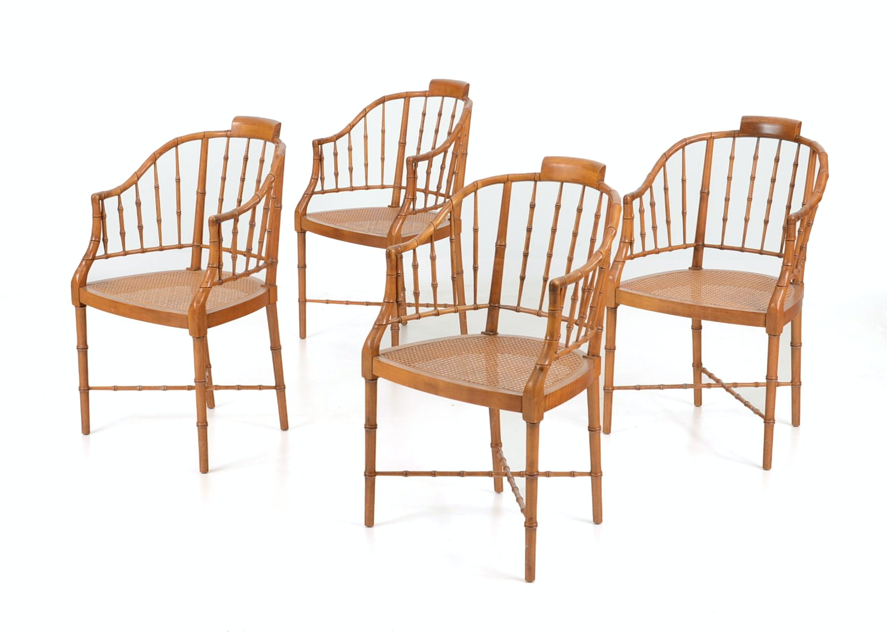 Set Of Four Baker Furniture Faux Bamboo Chairs ...