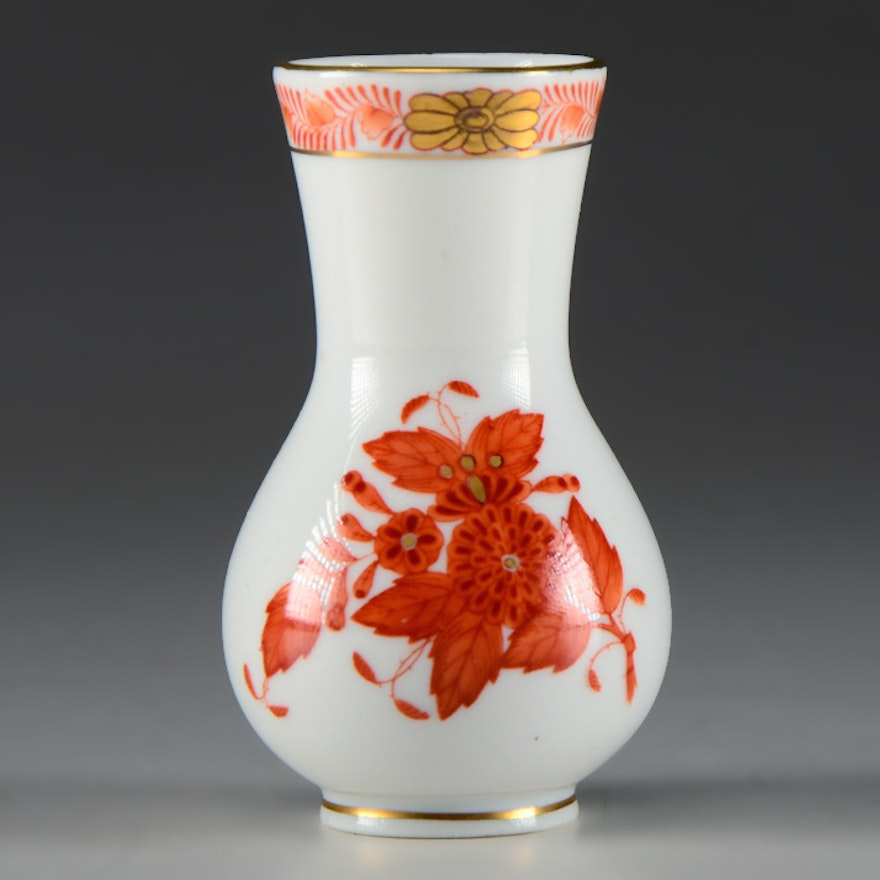 Herend Chinese Bouquet Rust Bud Vase