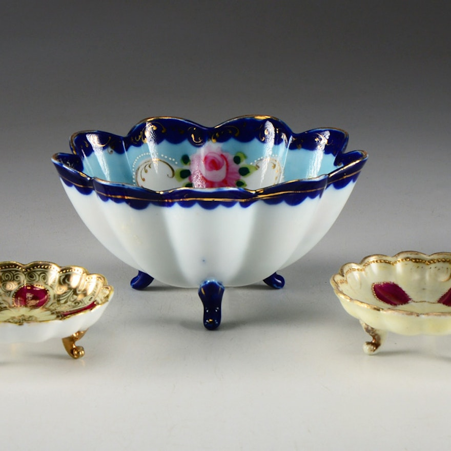 Assortment of Porcelain Footed Bowls
