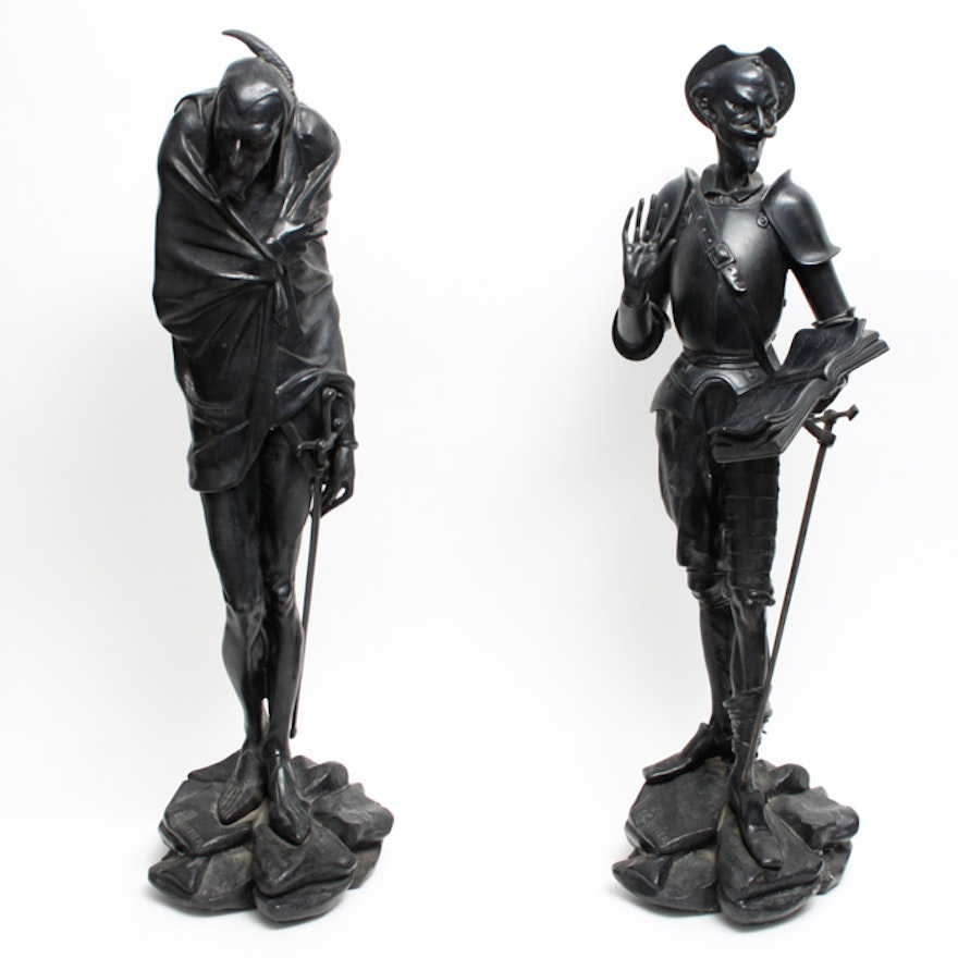 J. Gautier Cast Iron Statues of Don Quixote and Mephistopheles : EBTH