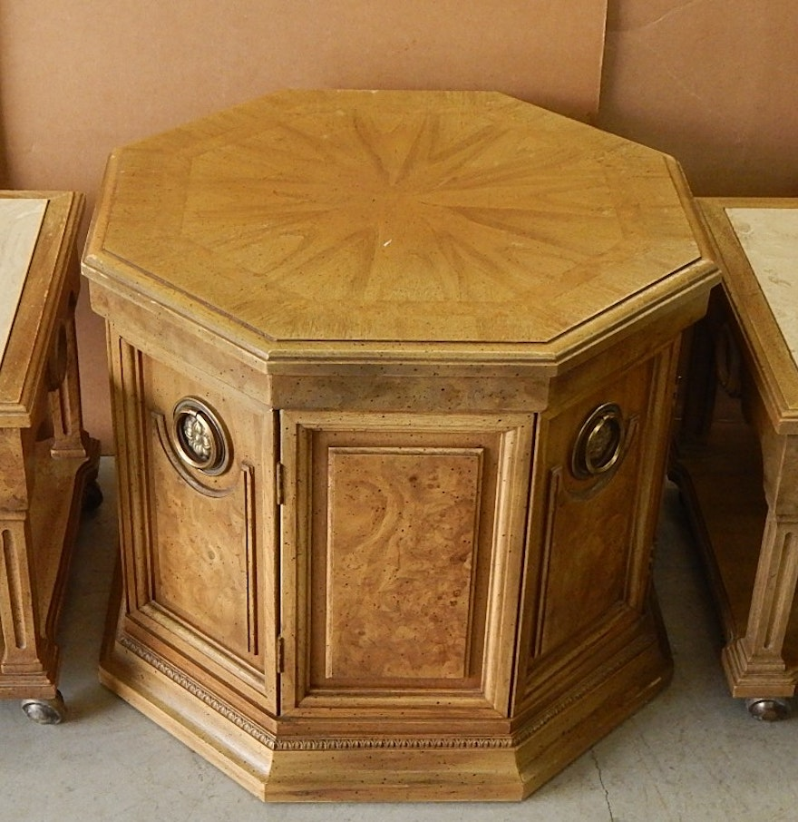 Octagon Side Table ~ Romweber octagonal end table two marble top accent tables