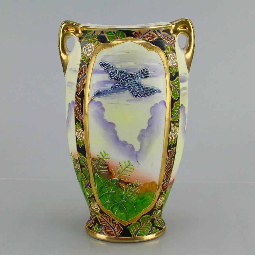Vintage Miyako Nippon Hand Painted Vase Ebth