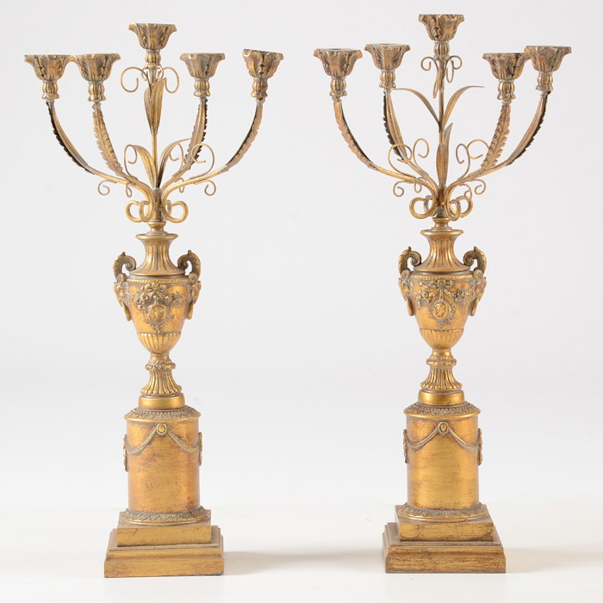 Pair of Tall Gold Tone Candelabras