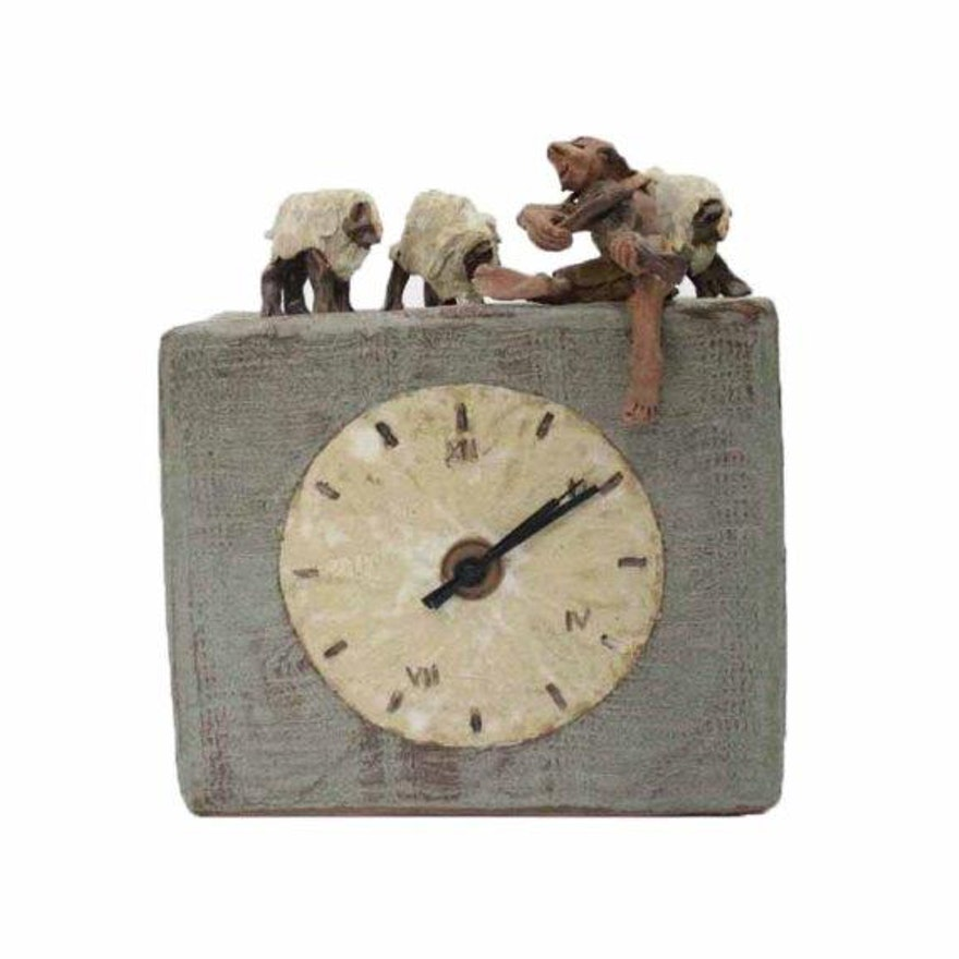 Handmade Ceramic Clock With Shepherd And Sheep Figures Ebth