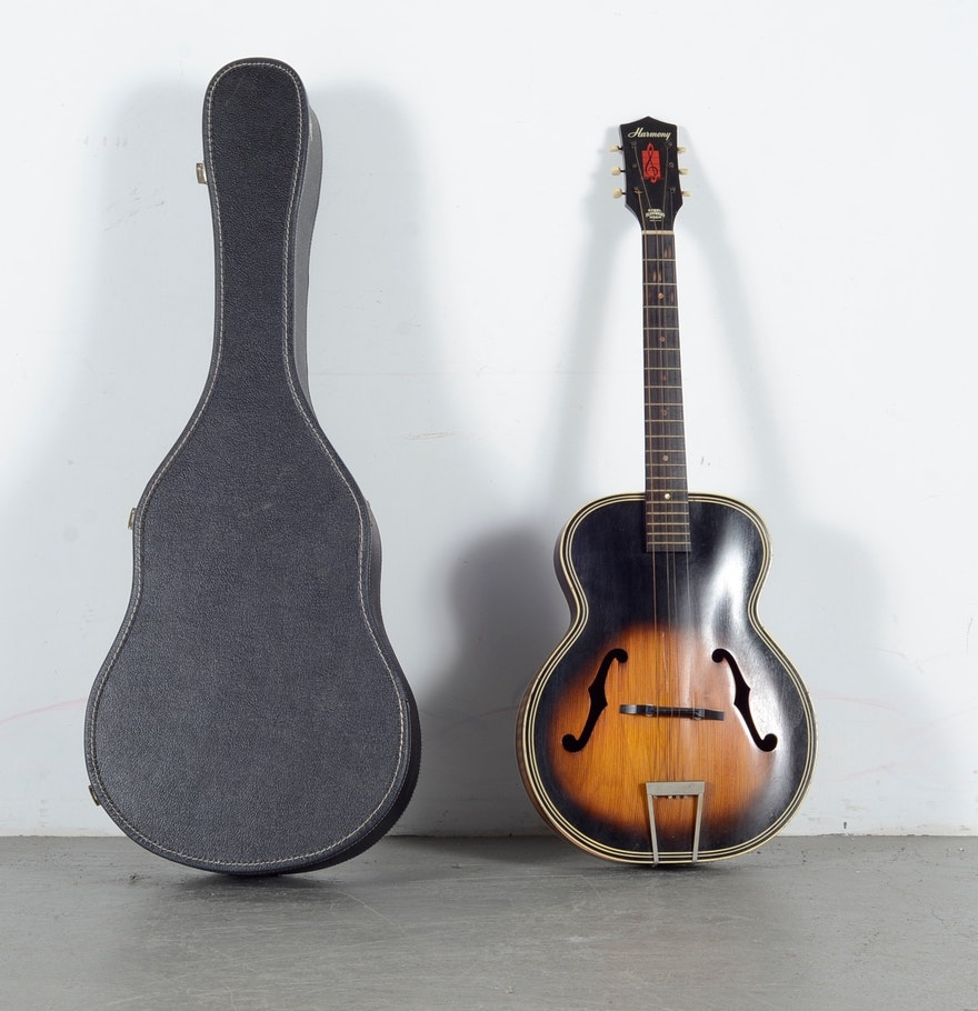vintage harmony h1215 archtop guitar ebth. Black Bedroom Furniture Sets. Home Design Ideas