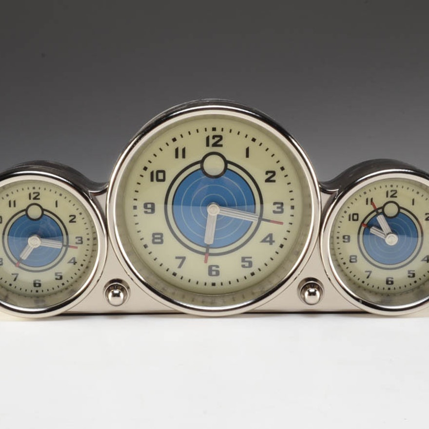 Three Timezone Pottery Barn Clock EBTH - Timezone cincinnati