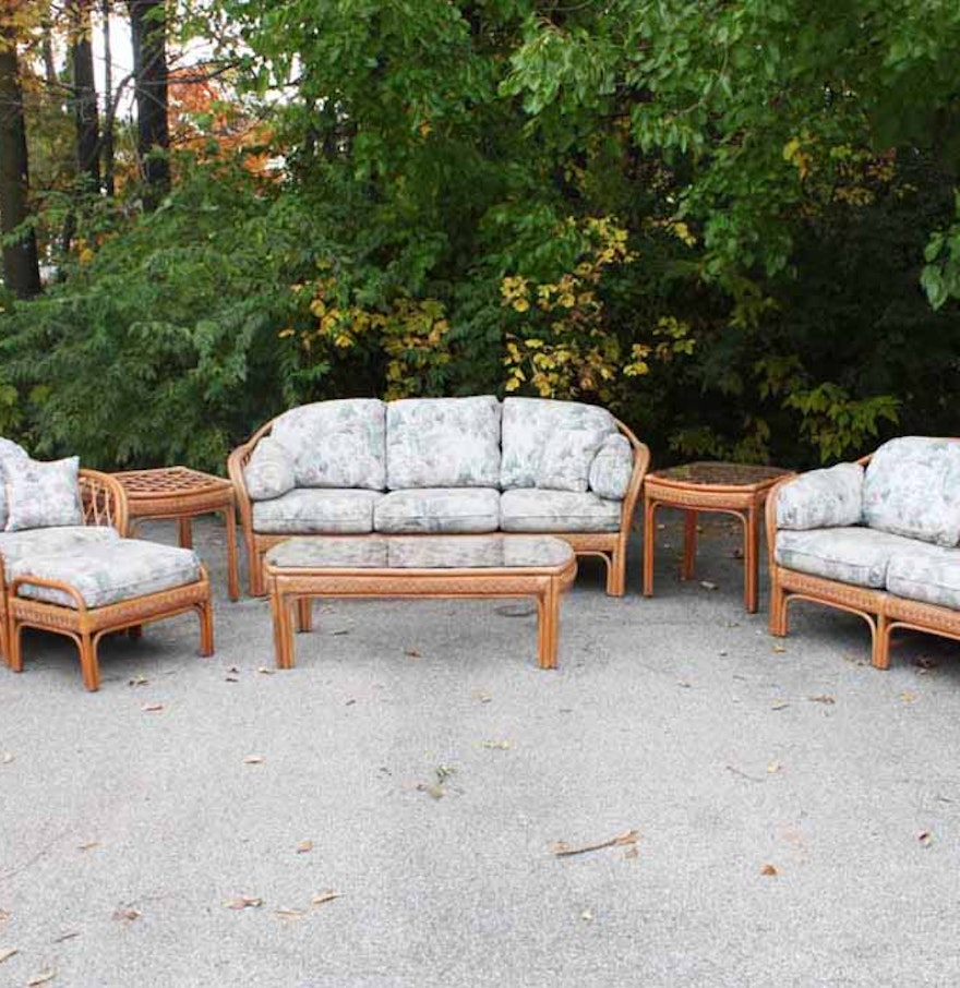 Wicker Living Room Sets Benchcraft Rattan Living Room Set Ebth