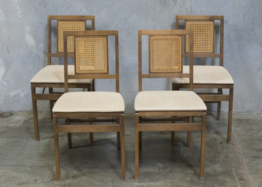 set of four vintage stakmore folding chairs ebth
