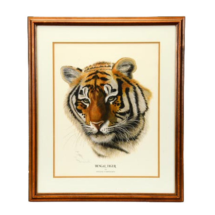 """Signed Offset Lithograph of Imogene Farnsworth's """"Bengal Tiger"""""""