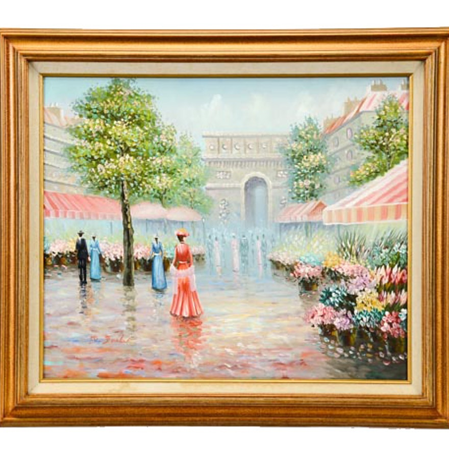 Decorative Acrylic Painting of Floral Courtyard