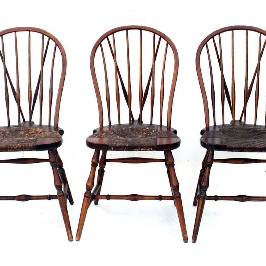 Trio of Antique Brace-Back Karpen Mission Windsor Chairs ... - Trio Of Antique Brace-Back Karpen Mission Windsor Chairs : EBTH