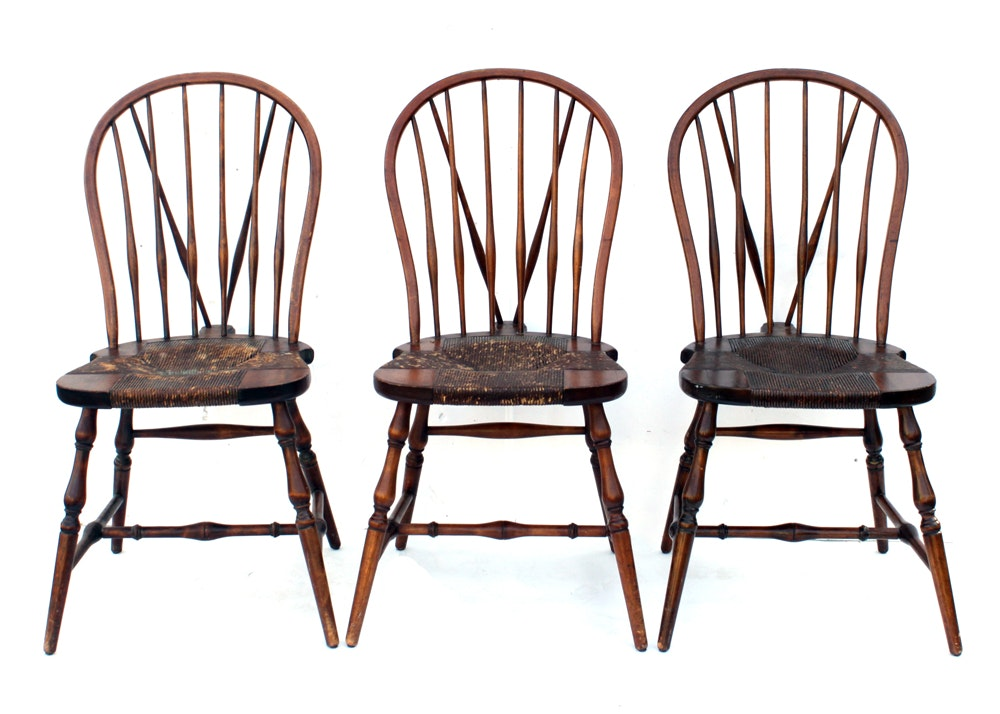 Merveilleux Trio Of Antique Brace Back Karpen Mission Windsor Chairs ...