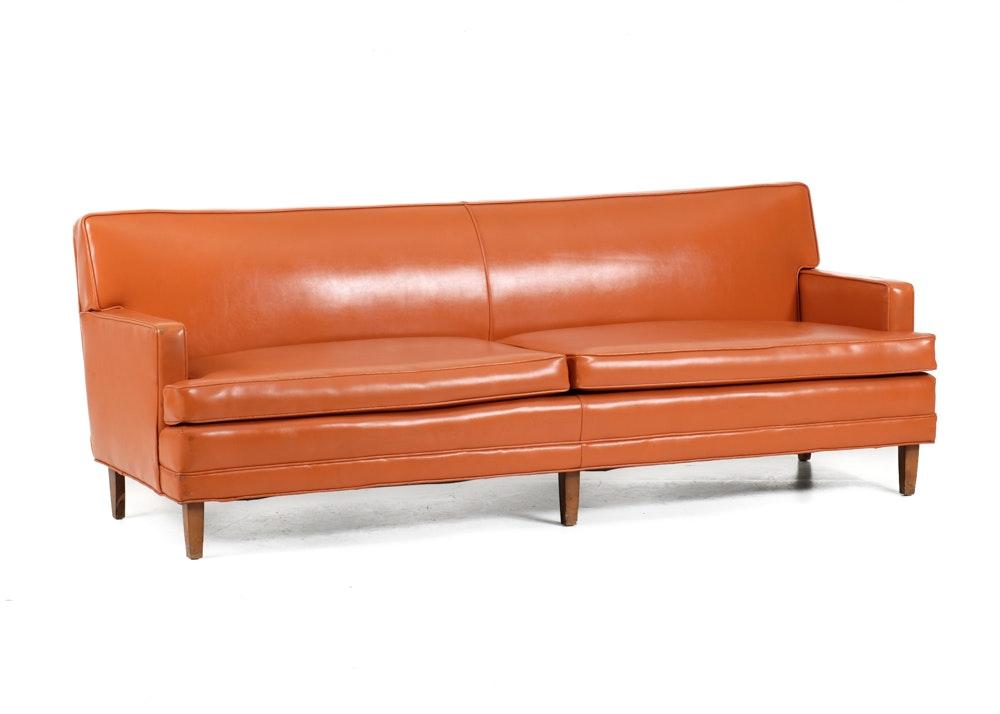 Mid Century Burnt Orange Vinyl Lawson Sofa ...