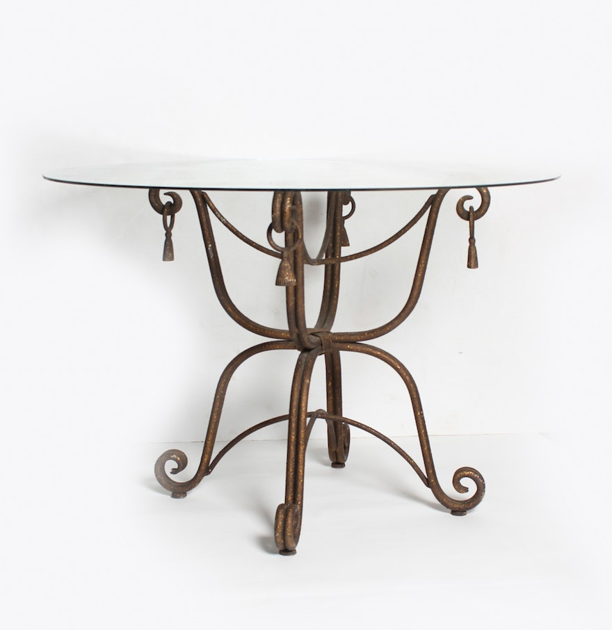 wrought iron table with glass top ebth. Black Bedroom Furniture Sets. Home Design Ideas