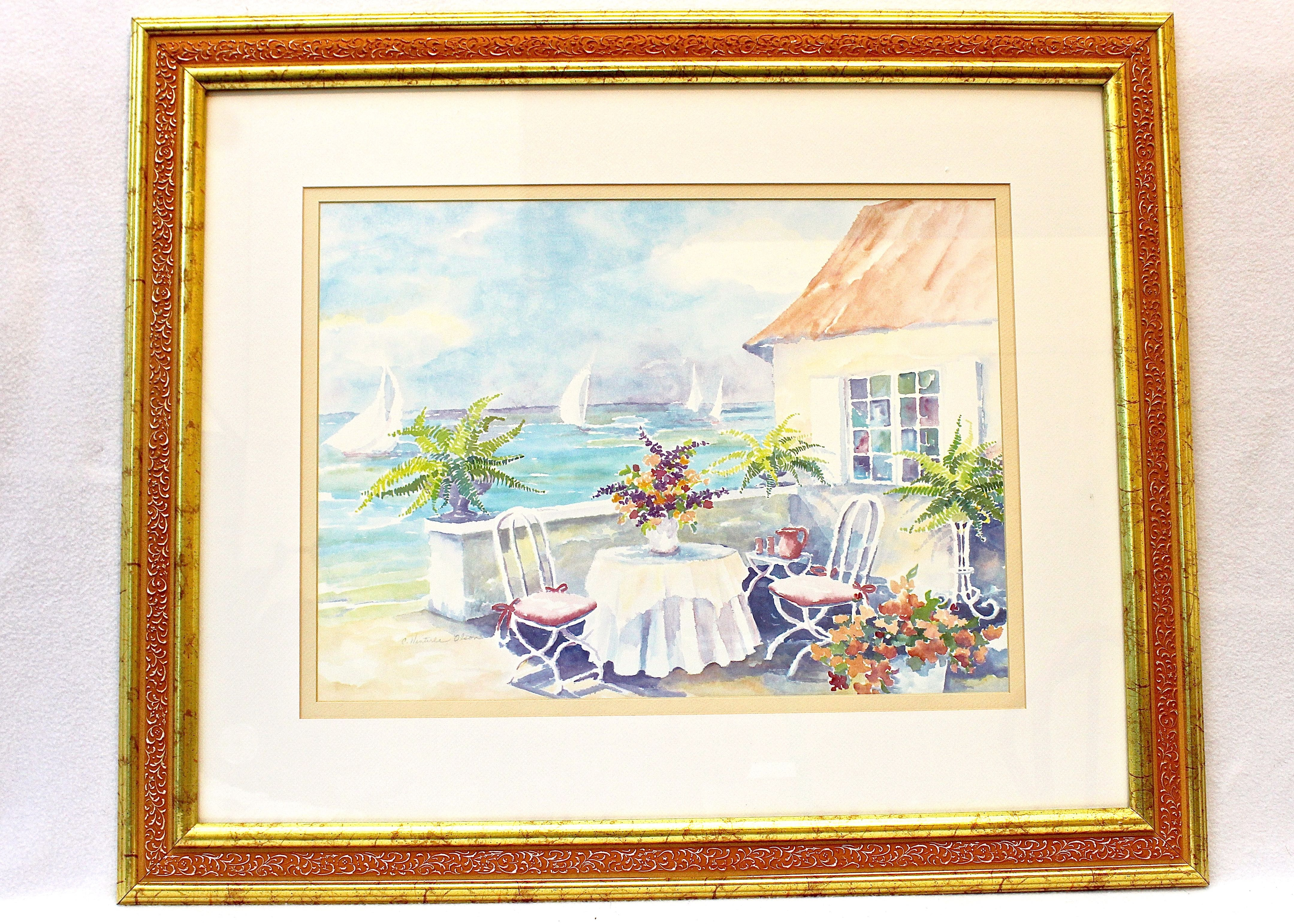 C Winterle Olson Signed Watercolor Print Ebth