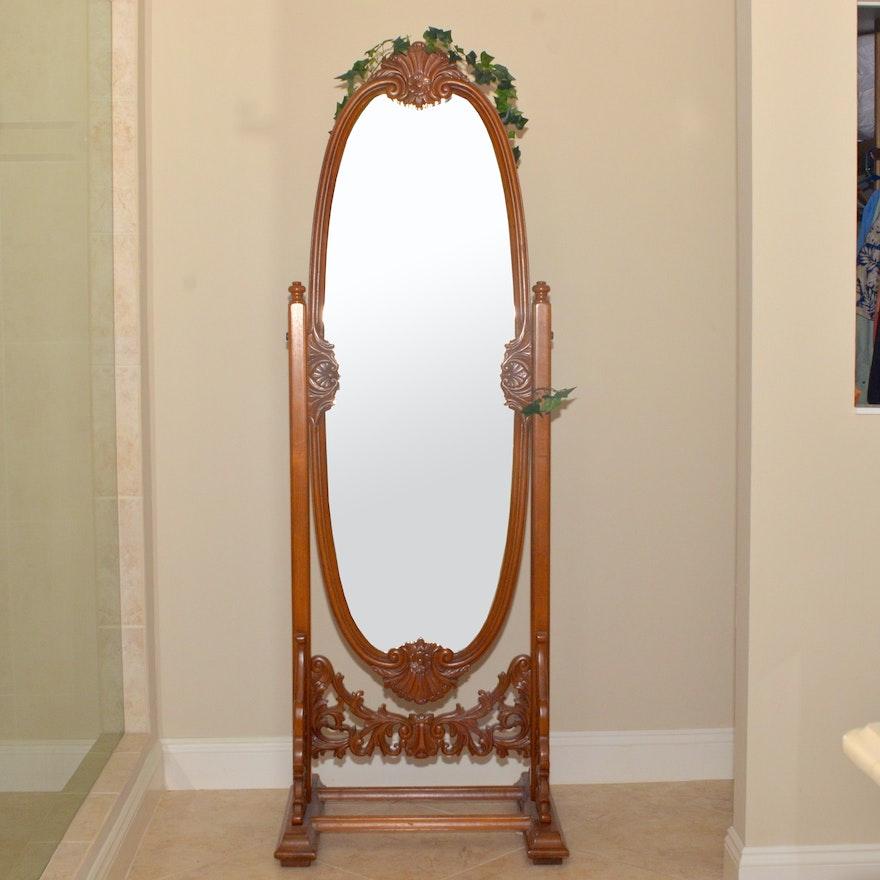 Ornate Carved Oak Floor Mirror : EBTH