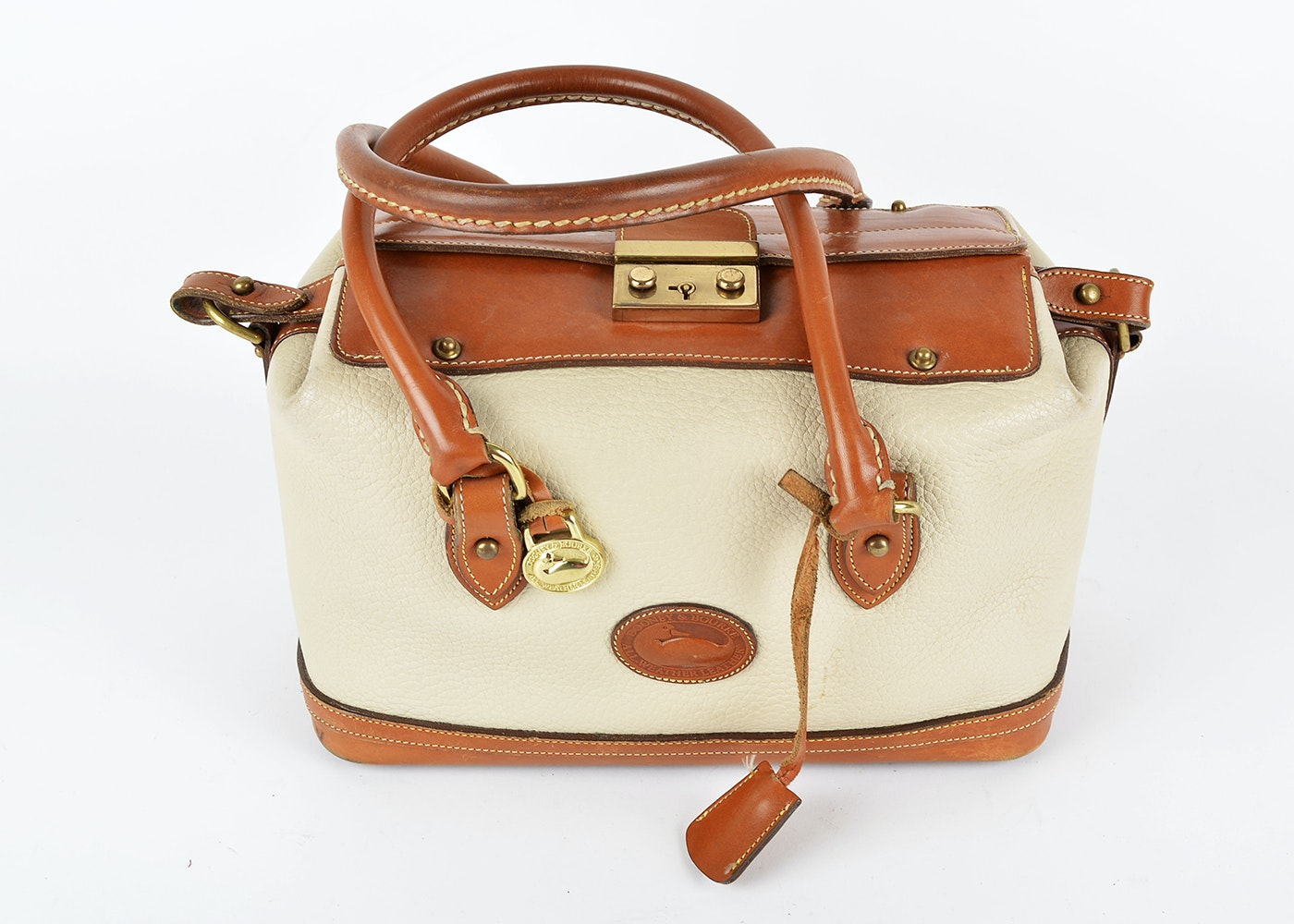 designer purse sale zn4e  Dooney & Bourke Tan Leather Doctor's Handbag