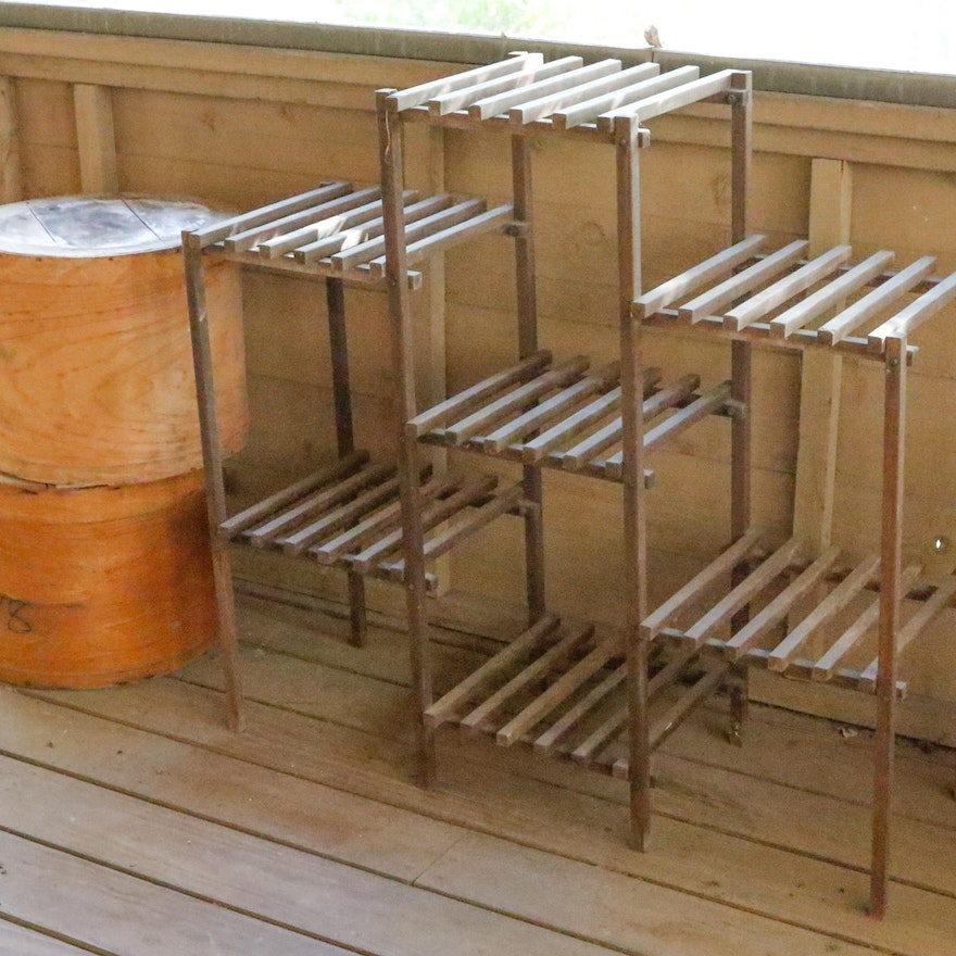Multi Tier Plant Stand And Lidded Wood Boxes Ebth