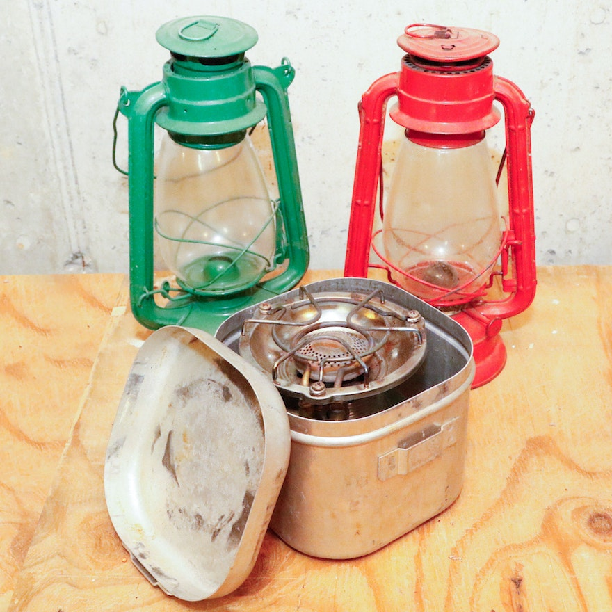 Two Camping Lanterns and Vintage Coleman Camp Stove