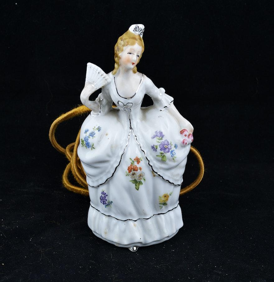 Victorian night lamps - Porcelain Victorian Lady Figurine Night Light